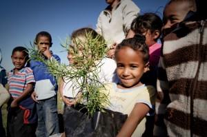 School kids planting trees