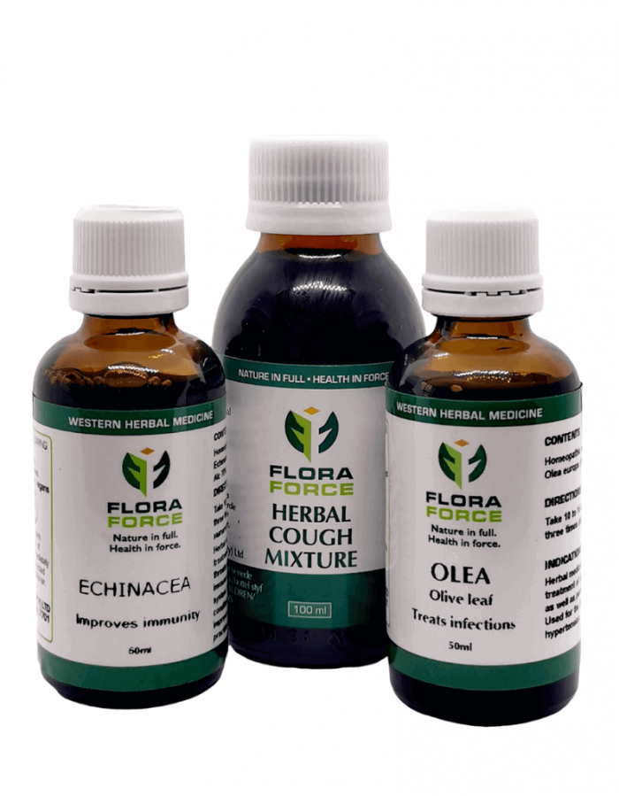 Combo of Cough Mix, Olea (Olive Leaf) and Echinacea   Buy at FloraForce.co.za